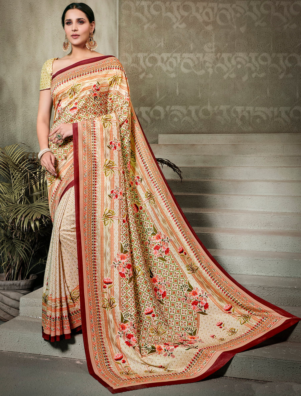 Cream Color Tusser Silk Radiant Festive Sarees NYF-5232