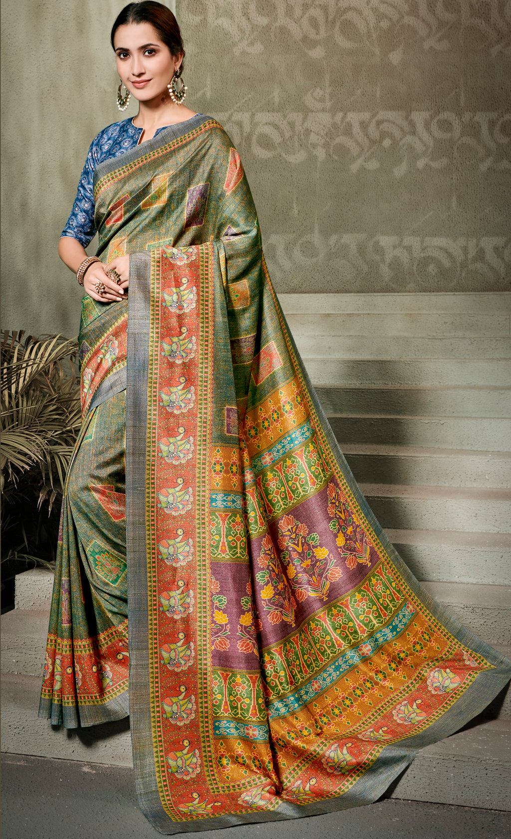 Green Color Tusser Silk Radiant Festive Sarees NYF-5235