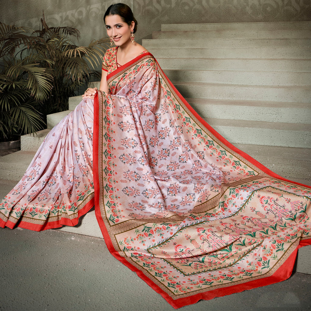 Pink Color Tusser Silk Radiant Festive Sarees NYF-5236