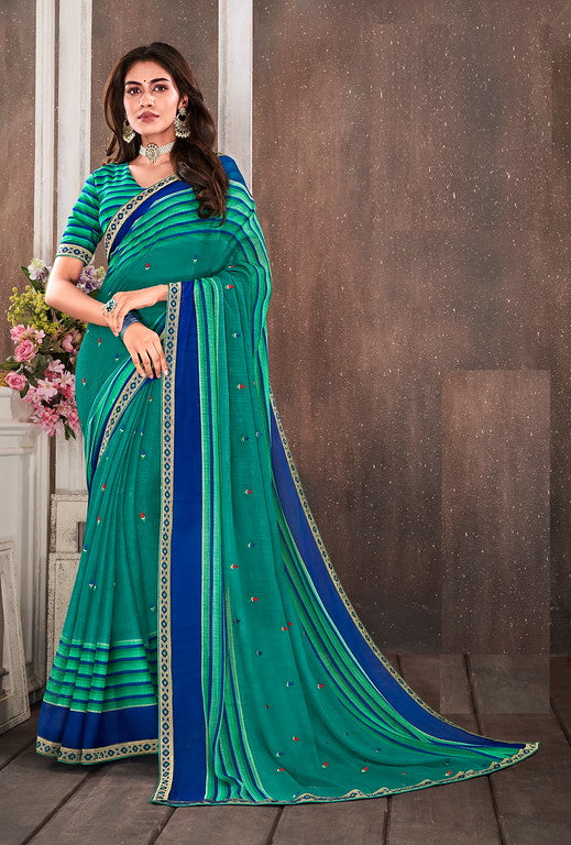 Green and Blue Color Chiffon Kitty Party Saree- Reda Collection YF#10345