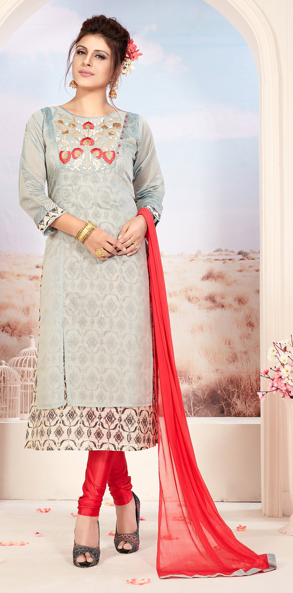 Grey Color Chanderi Readymade Party Wear Straight Suits NYF-9673