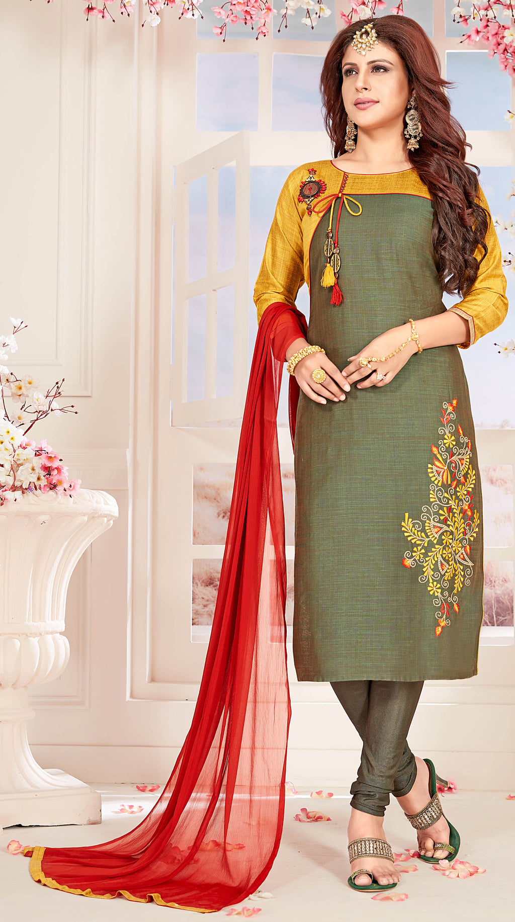 Moss Green Color Slub Cotton Readymade Party Wear Straight Suits NYF-9676