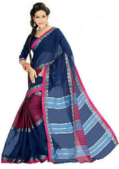 Blue Color Cotton Casual Party Wear Sarees : Bhavina Collection  YF-29898