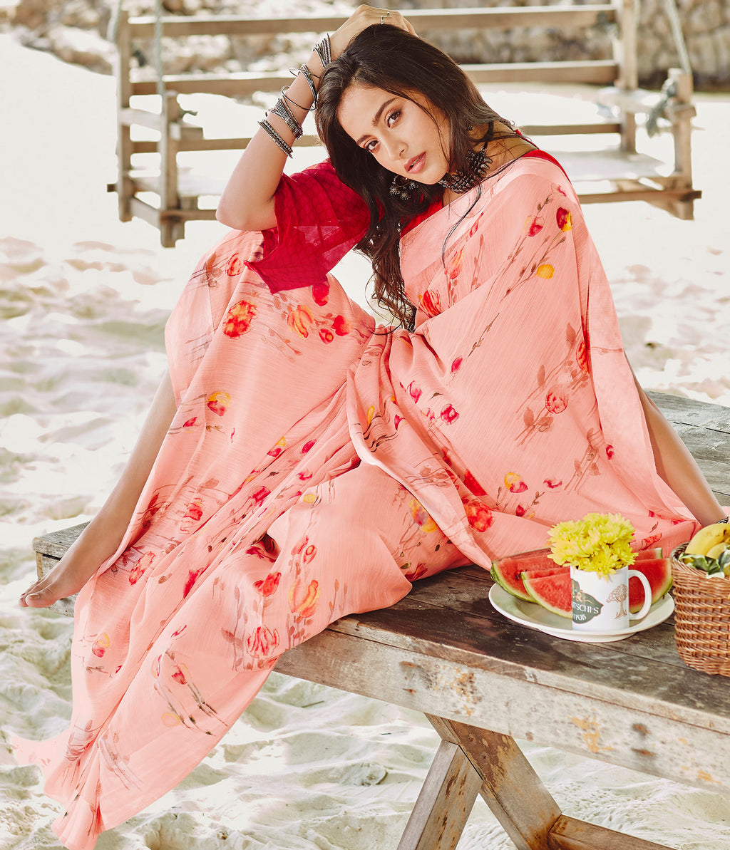Pink Color Soft Linen Floral Print Kitty Party Sarees NYF-7984