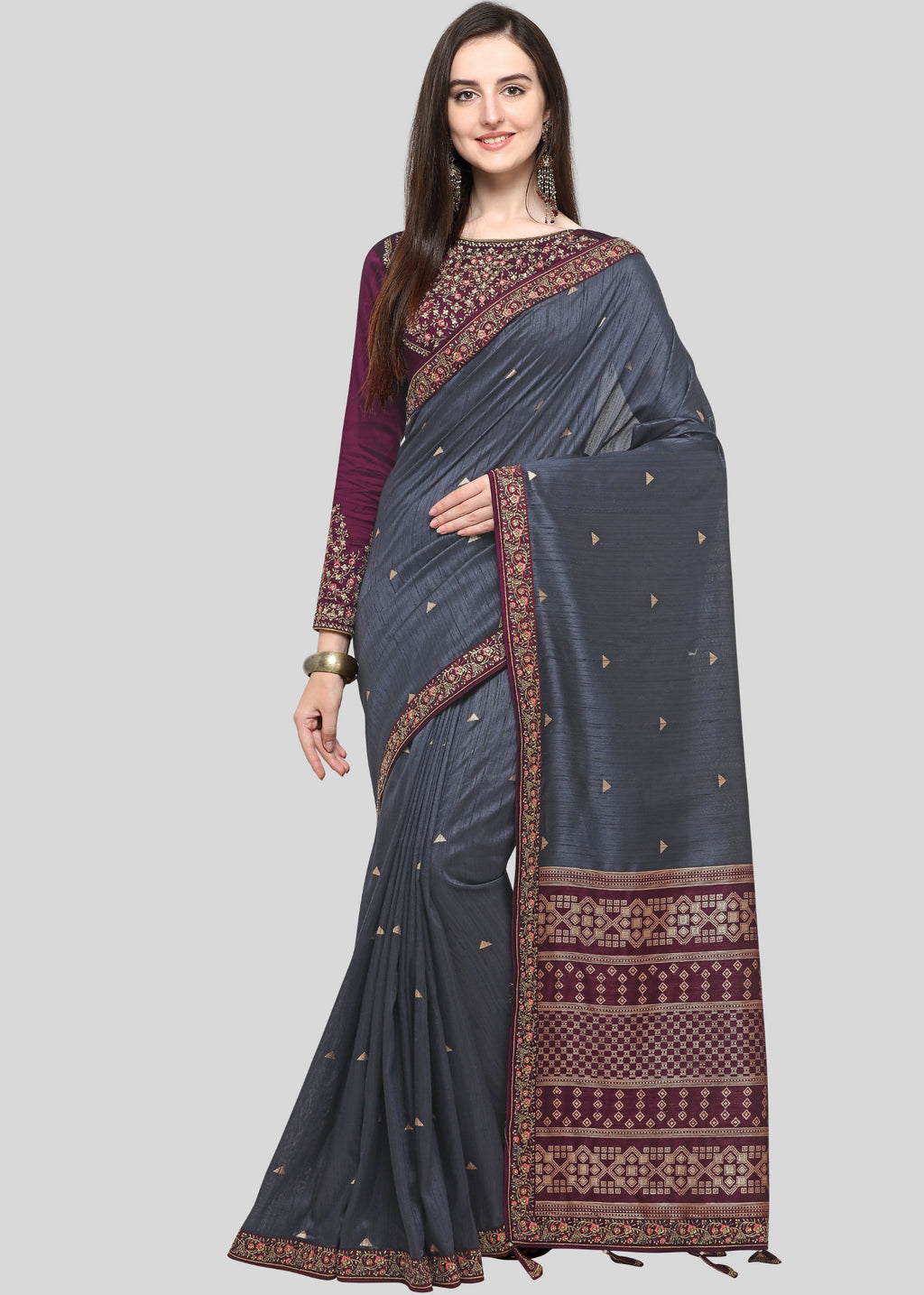Grey Color Weaving Raw Silk Wedding Function Sarees NYF-7986