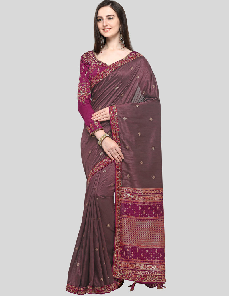 Dusty Wine Color Weaving Raw Silk Wedding Function Sarees NYF-7987