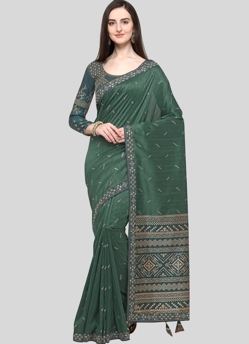 Green Color Weaving Raw Silk Wedding Function Sarees NYF-7988