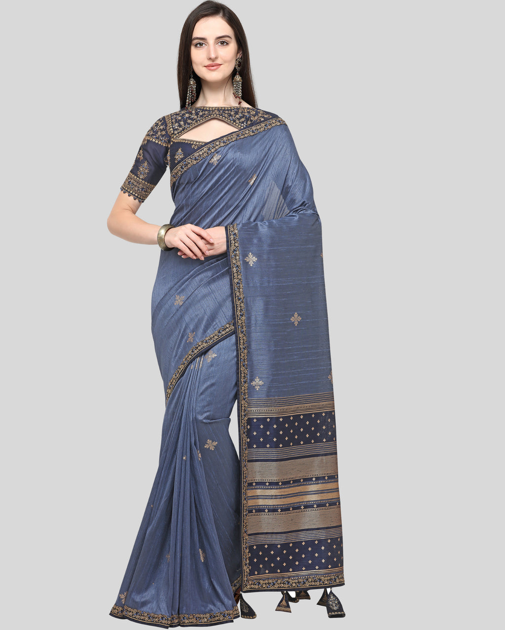 Grey Color Weaving Raw Silk Wedding Function Sarees NYF-7989