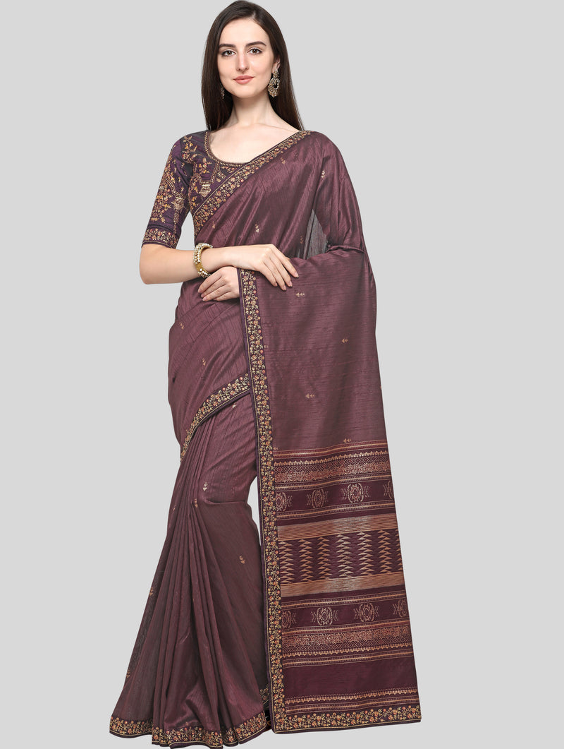 Dusty Wine Color Weaving Raw Silk Wedding Function Sarees NYF-7990