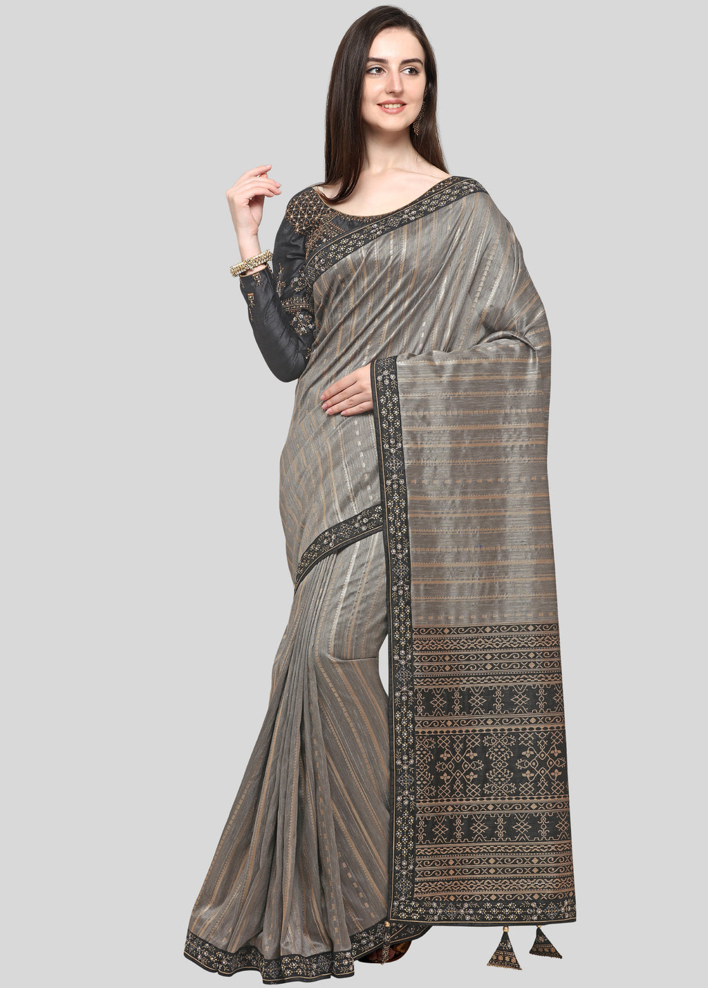 Grey Color Weaving Raw Silk Wedding Function Sarees NYF-7991