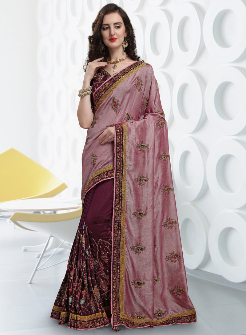 Onion Pink & Purple Color Kashmiri Silk Wedding Function Sarees NYF-7993
