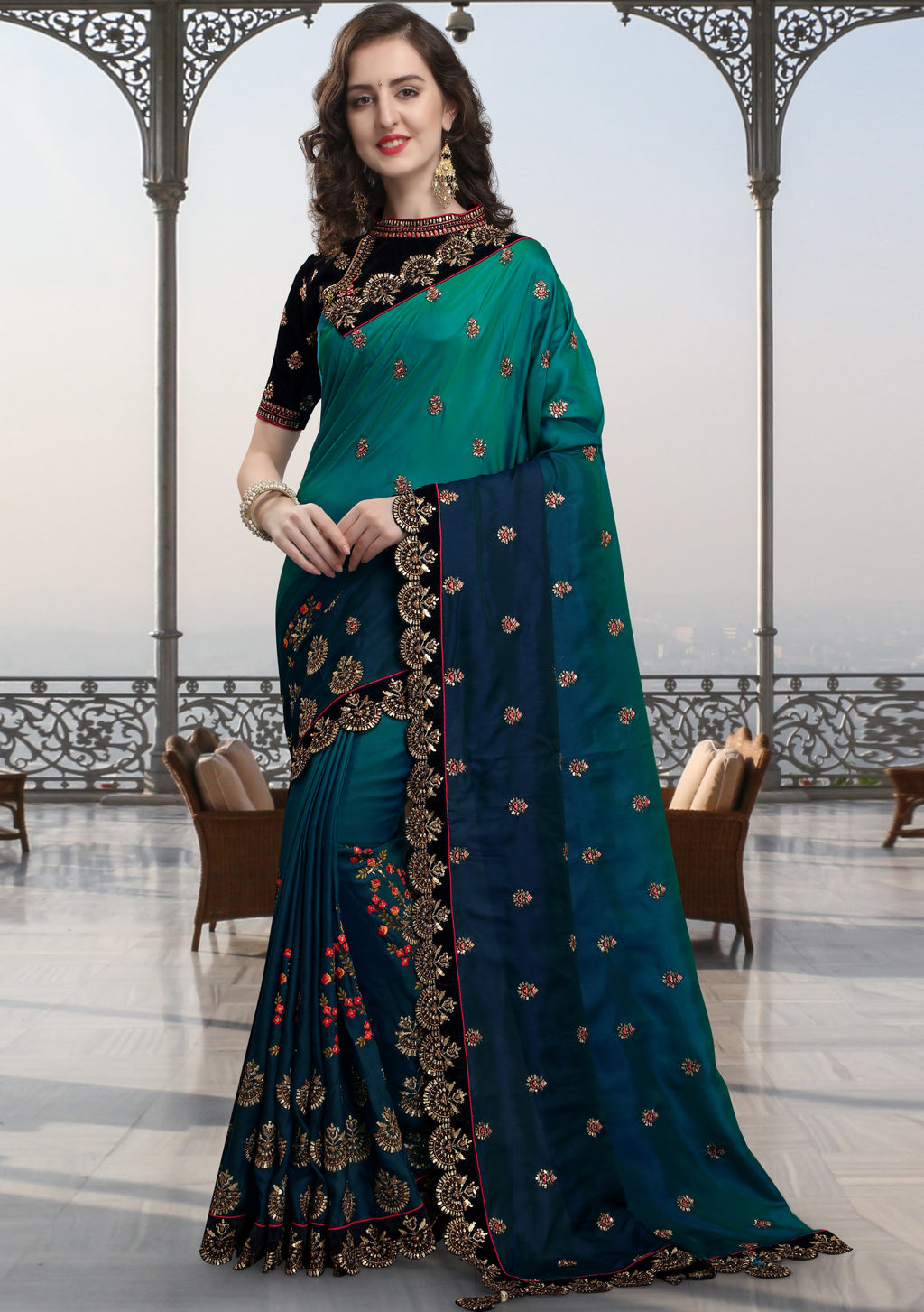 Green & Blue Color Barfi Silk Wedding Function Sarees NYF-7995