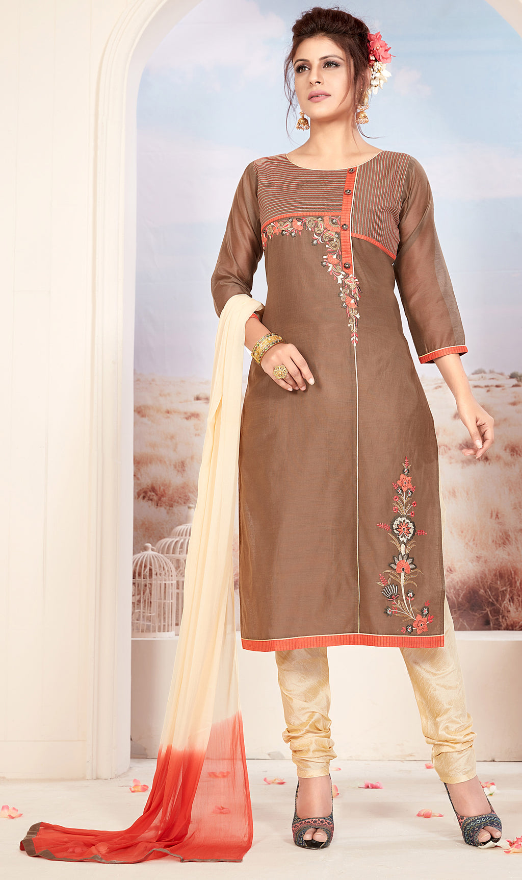 Beige Color Chanderi Readymade Party Wear Straight Suits NYF-9679