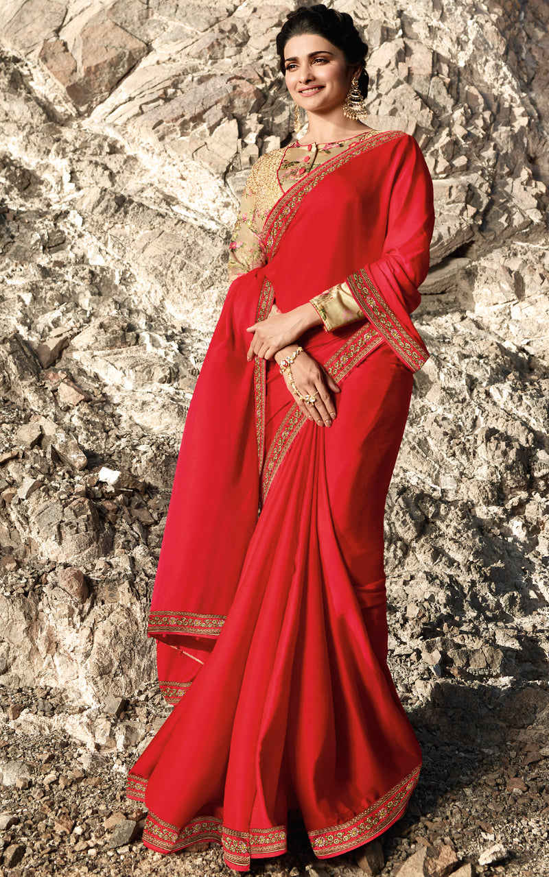 Red Color Crepe Silk Wedding Function Sarees NYF-7997