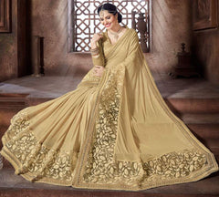 Golden Color Crepe Silk Designer Festive Sarees : Niyara Collection  YF-51821