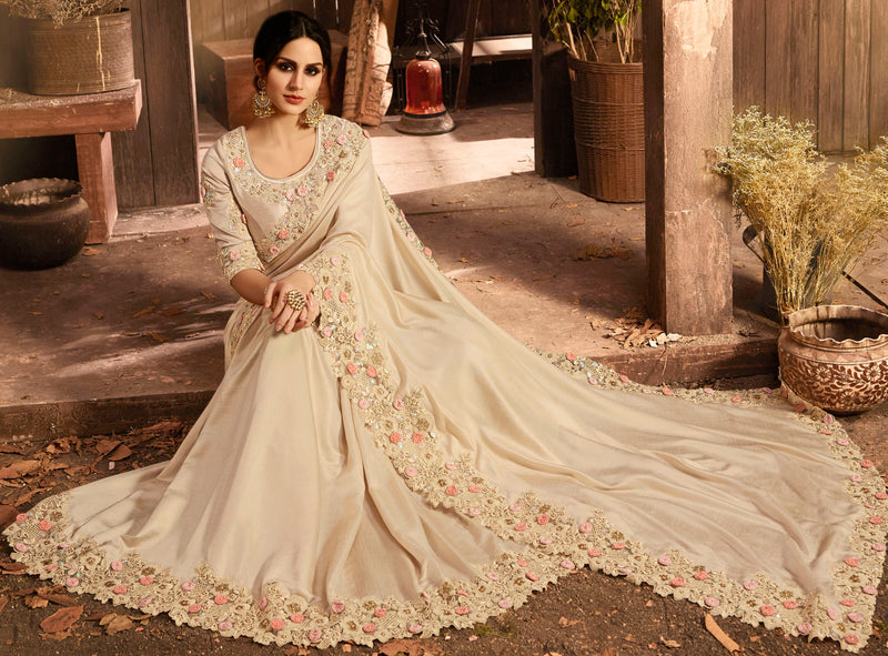 Cream Color Silk Wedding Function Sarees NYF-7998