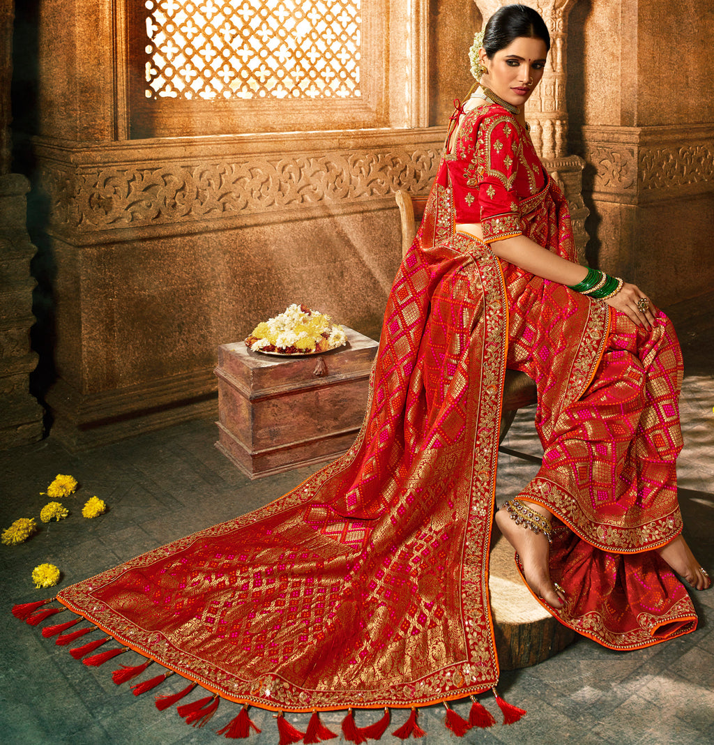Red Color Dola Viscose Silk Wedding Function Sarees NYF-7999