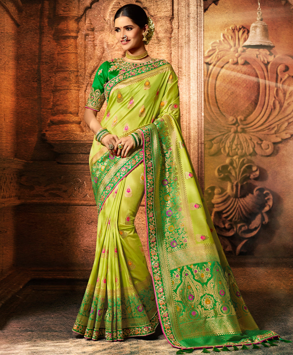 Lemon Green & Green Color Dola Viscose Silk Wedding Function Sarees NYF-8000