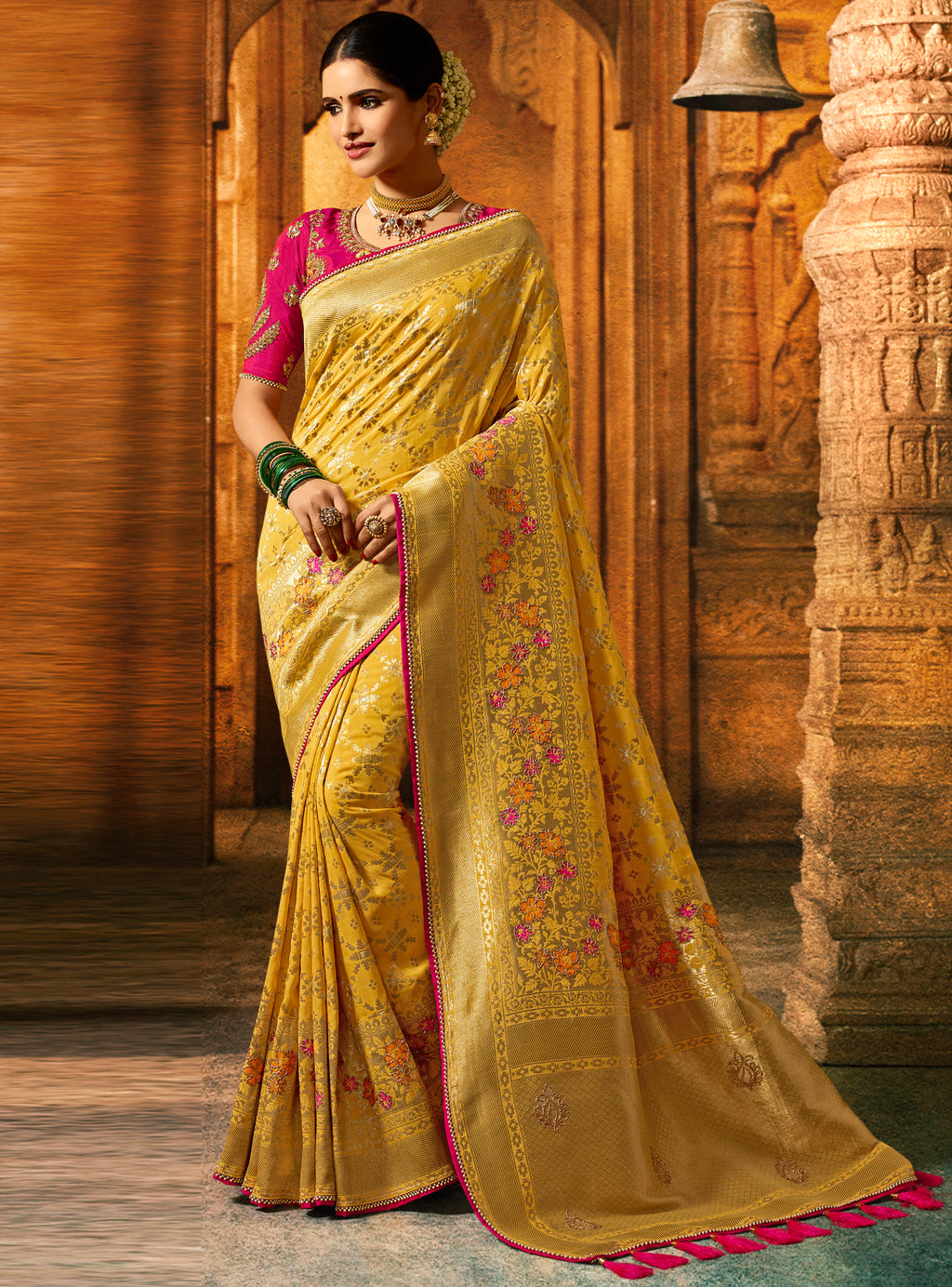 Yellow Color Dola Viscose Silk Wedding Function Sarees NYF-8001