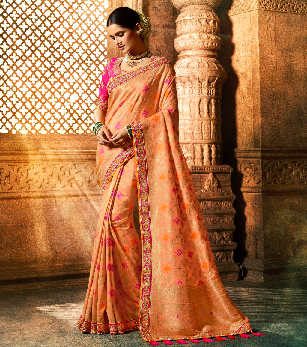 Peach Color Dola Viscose Silk Wedding Function Sarees NYF-8002