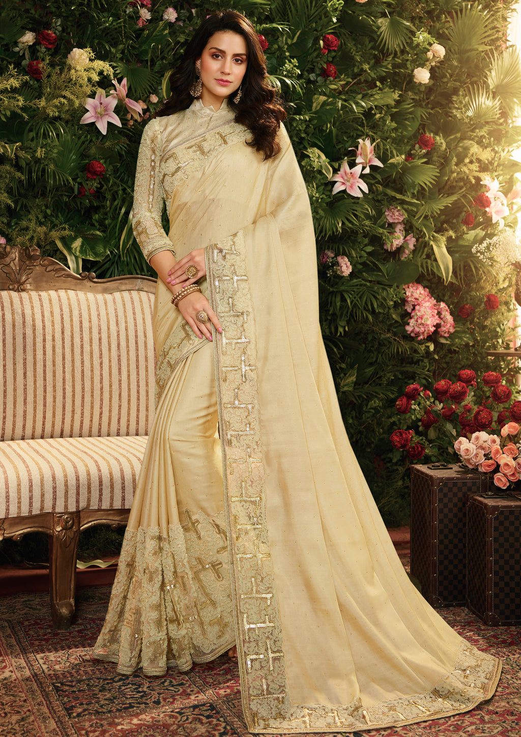 Cream Color Viscose Tusser Satin Silk Wedding Function Sarees NYF-8003
