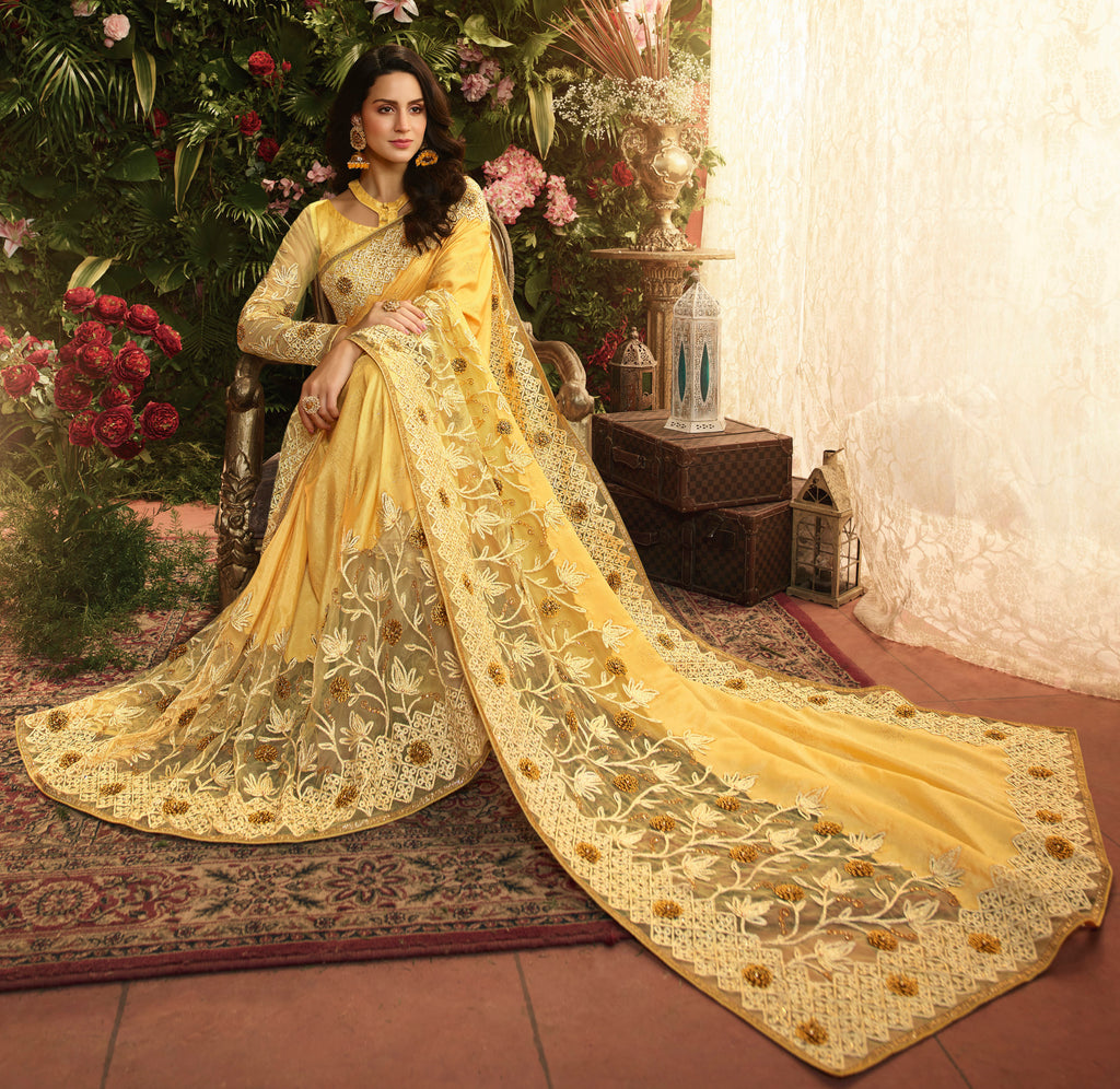 Yellow Color Pandora Silk & Net Wedding Function Sarees NYF-8004