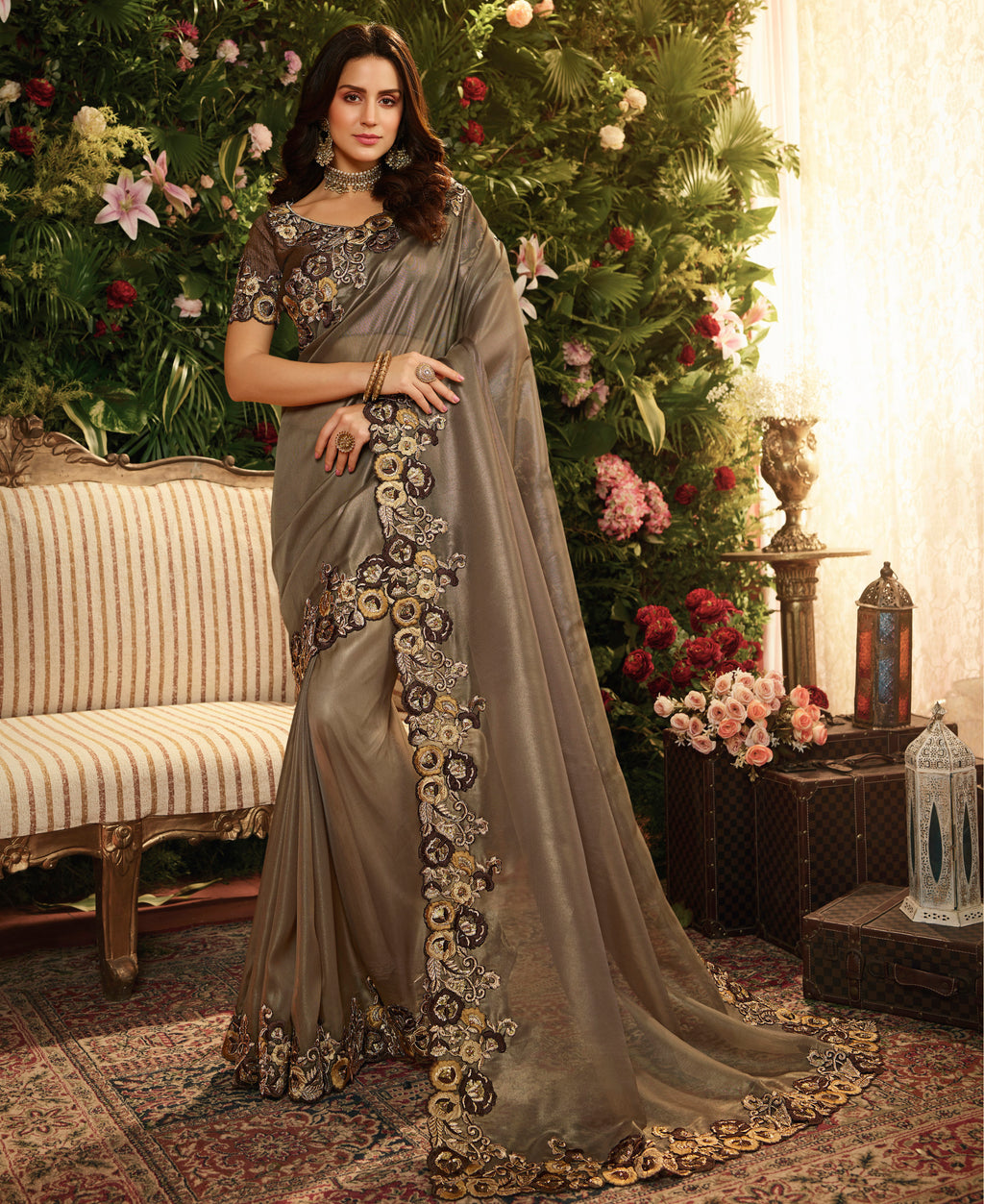 Dark Bronze Color Pure Organza Wedding Function Sarees NYF-8005