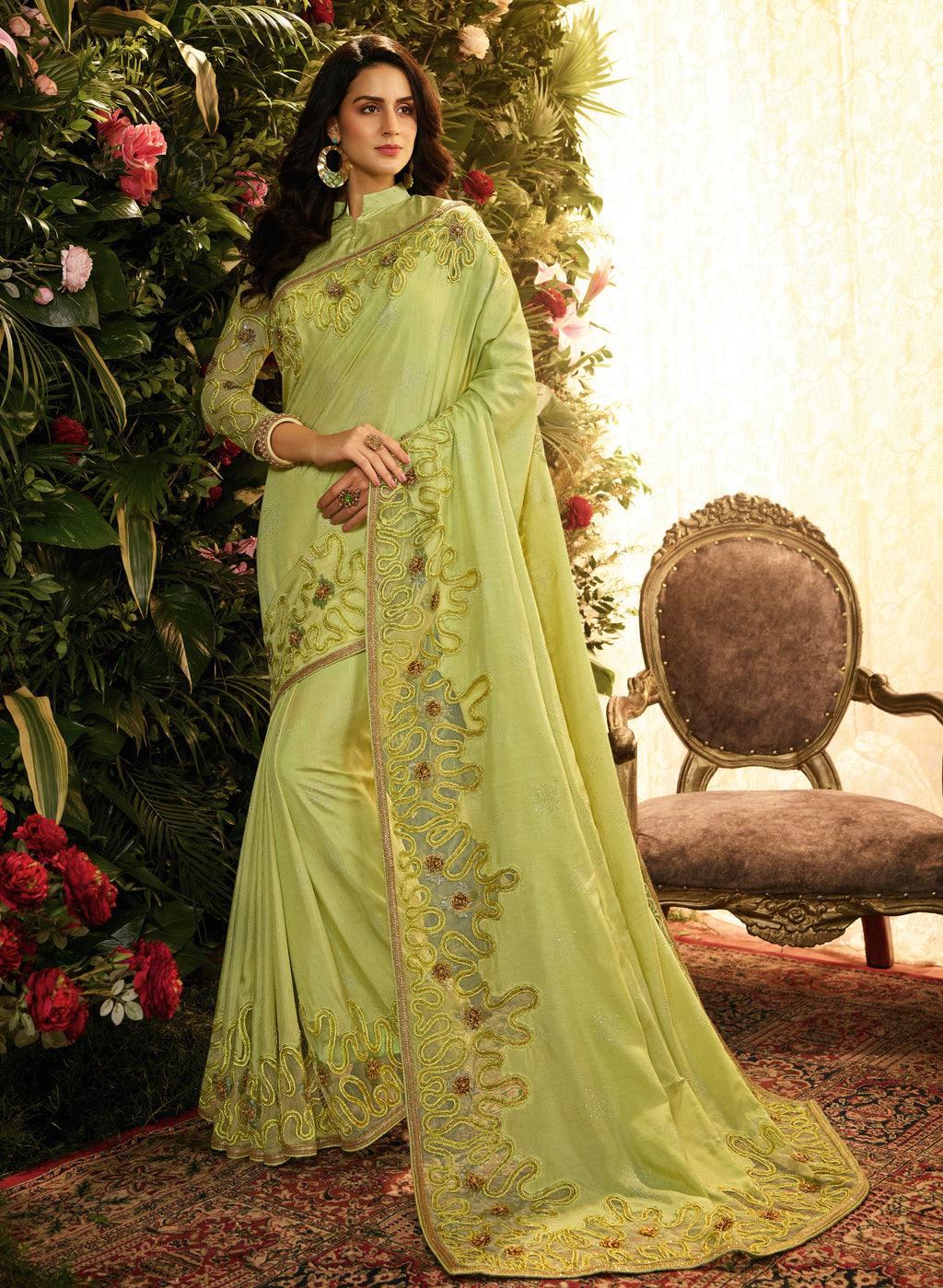 Pastel Green Color Pandora Silk & Net Wedding Function Sarees NYF-8006