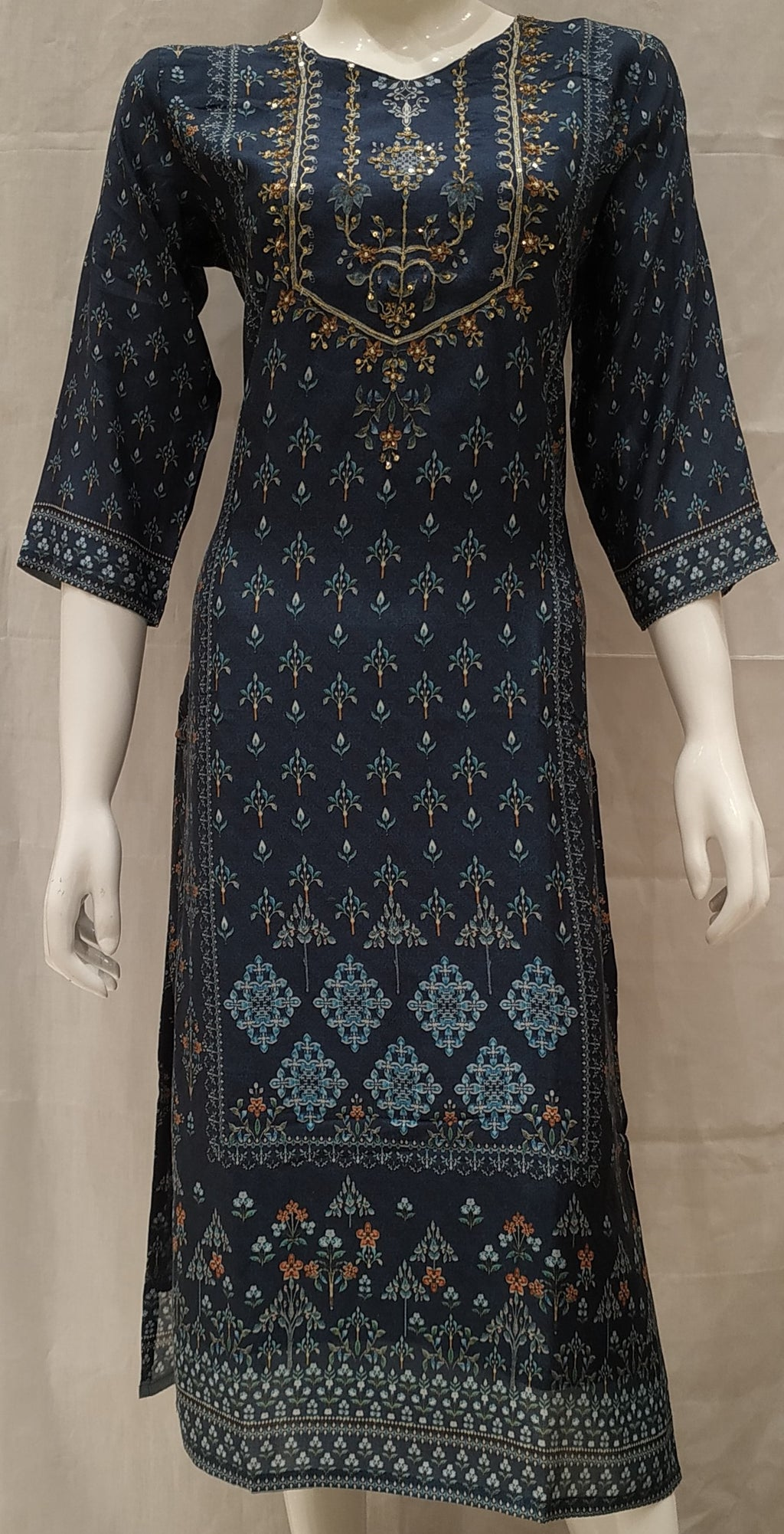 Blue Color Pure Muslin Designer Party Wear Kurtis NYF-6551