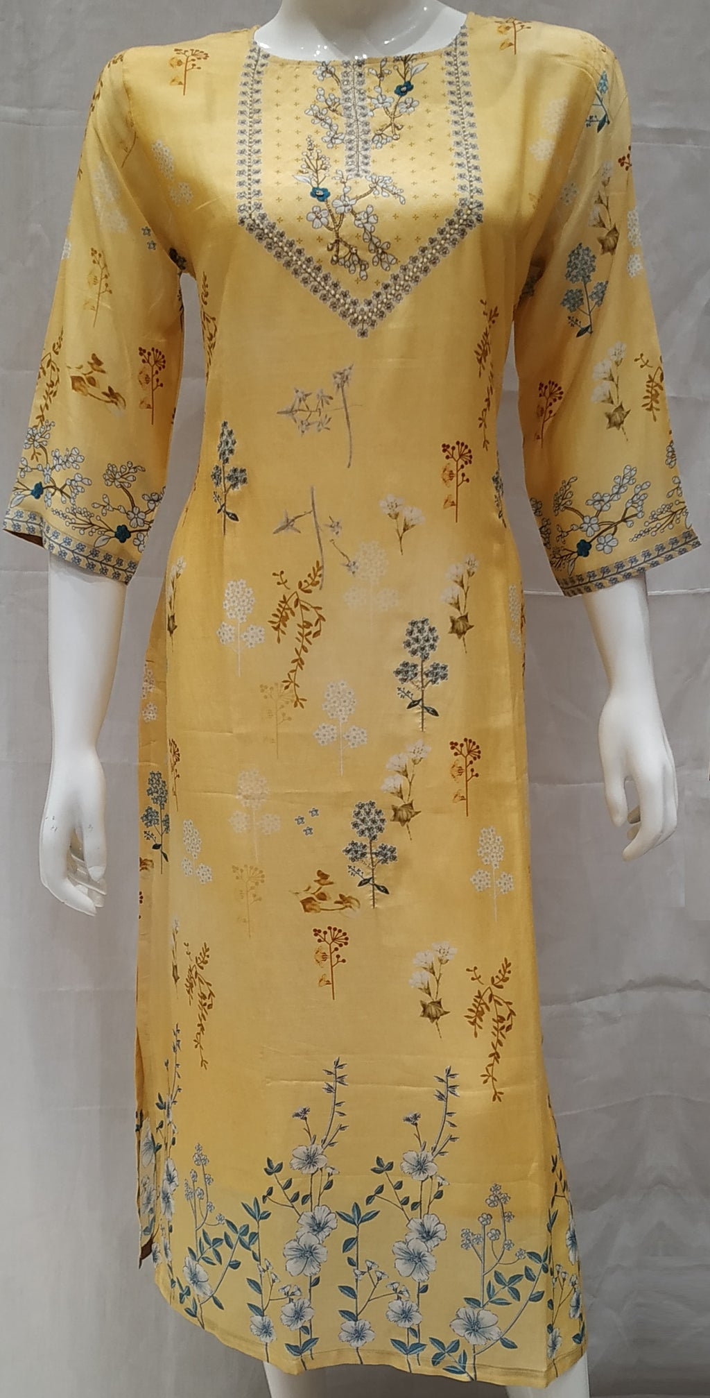 Yellow Color Pure Muslin Designer Party Wear Kurtis NYF-6559