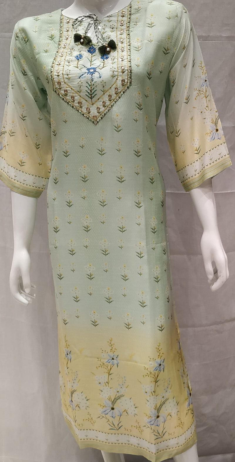 Green Color Pure Muslin Designer Party Wear Kurtis NYF-6656