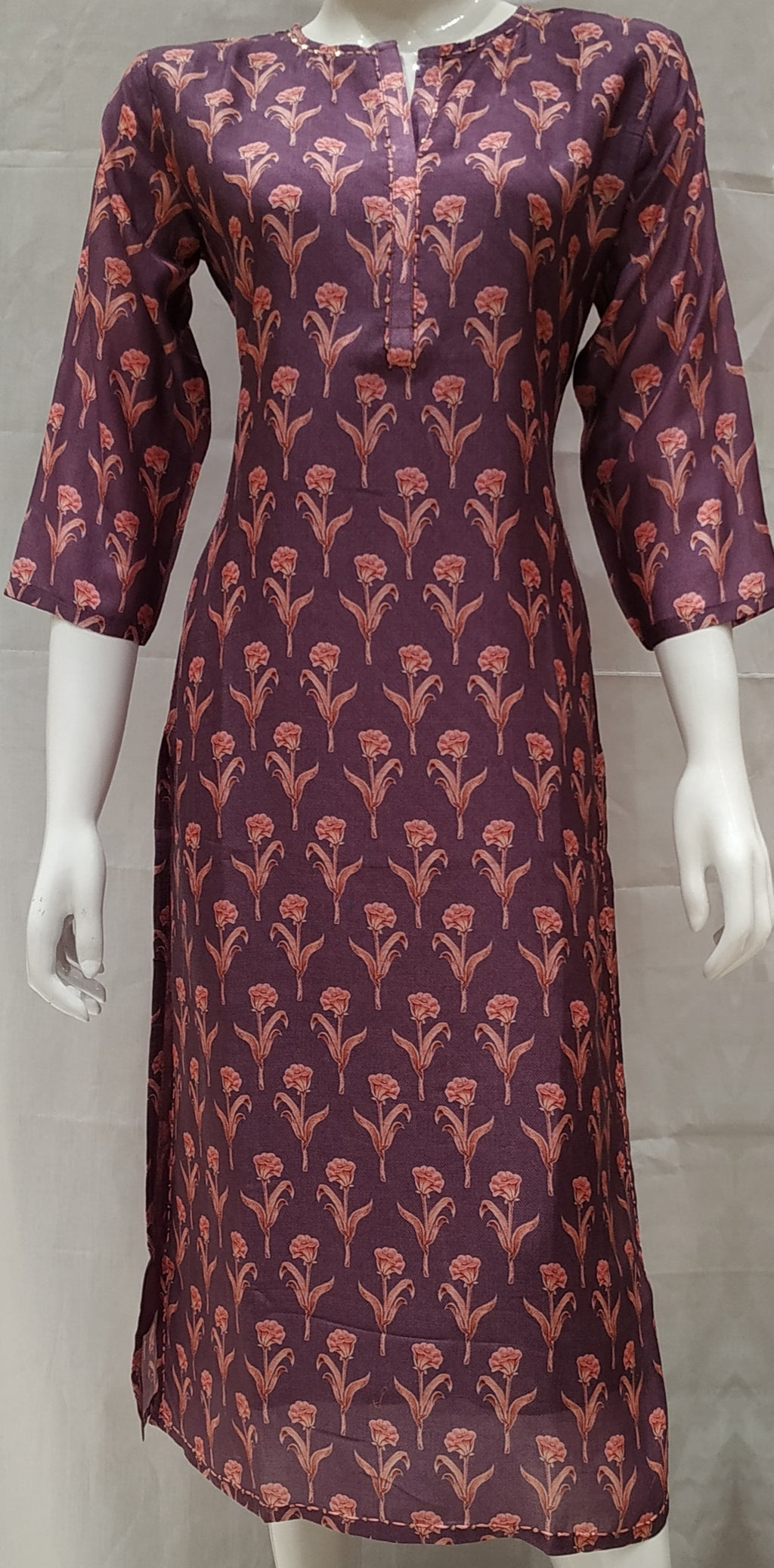 Wine Color Pure Muslin Designer Party Wear Kurtis NYF-6669