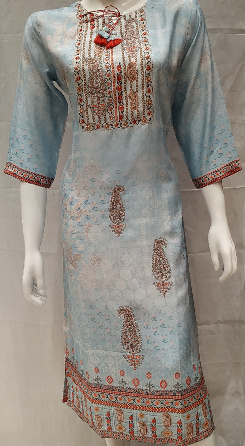 Blue Color Pure Muslin Designer Party Wear Kurtis NYF-6683