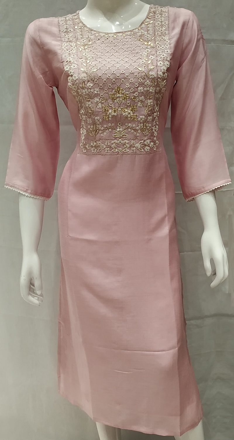 Pink Color Pure Muslin Designer Party Wear Kurtis NYF-6690