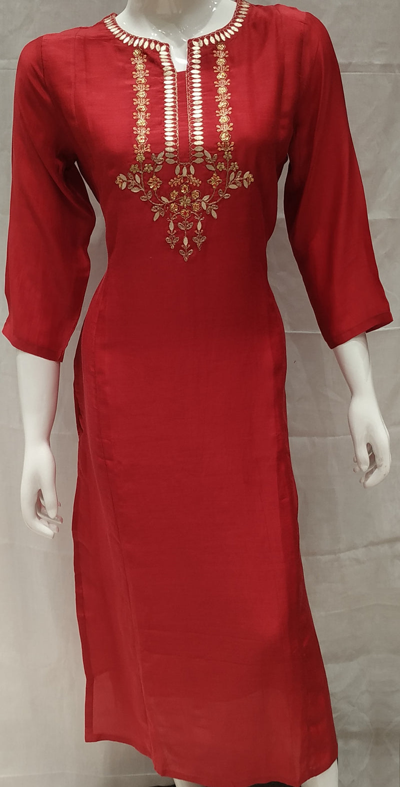 Red Color Pure Muslin Designer Party Wear Kurtis NYF-6694