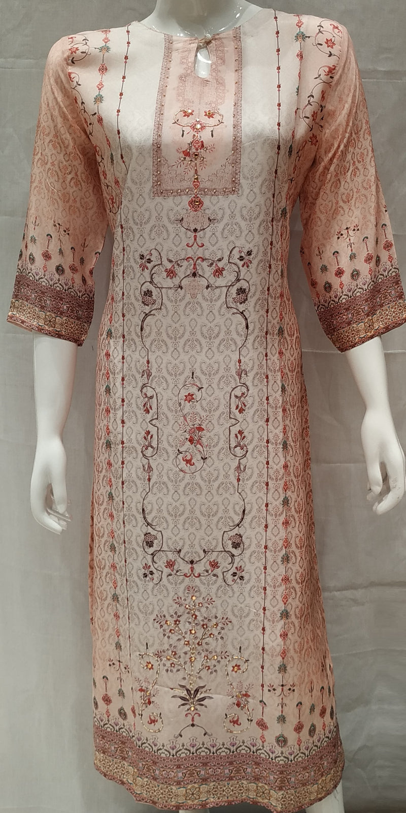 Pink Color Pure Muslin Designer Party Wear Kurtis NYF-6698