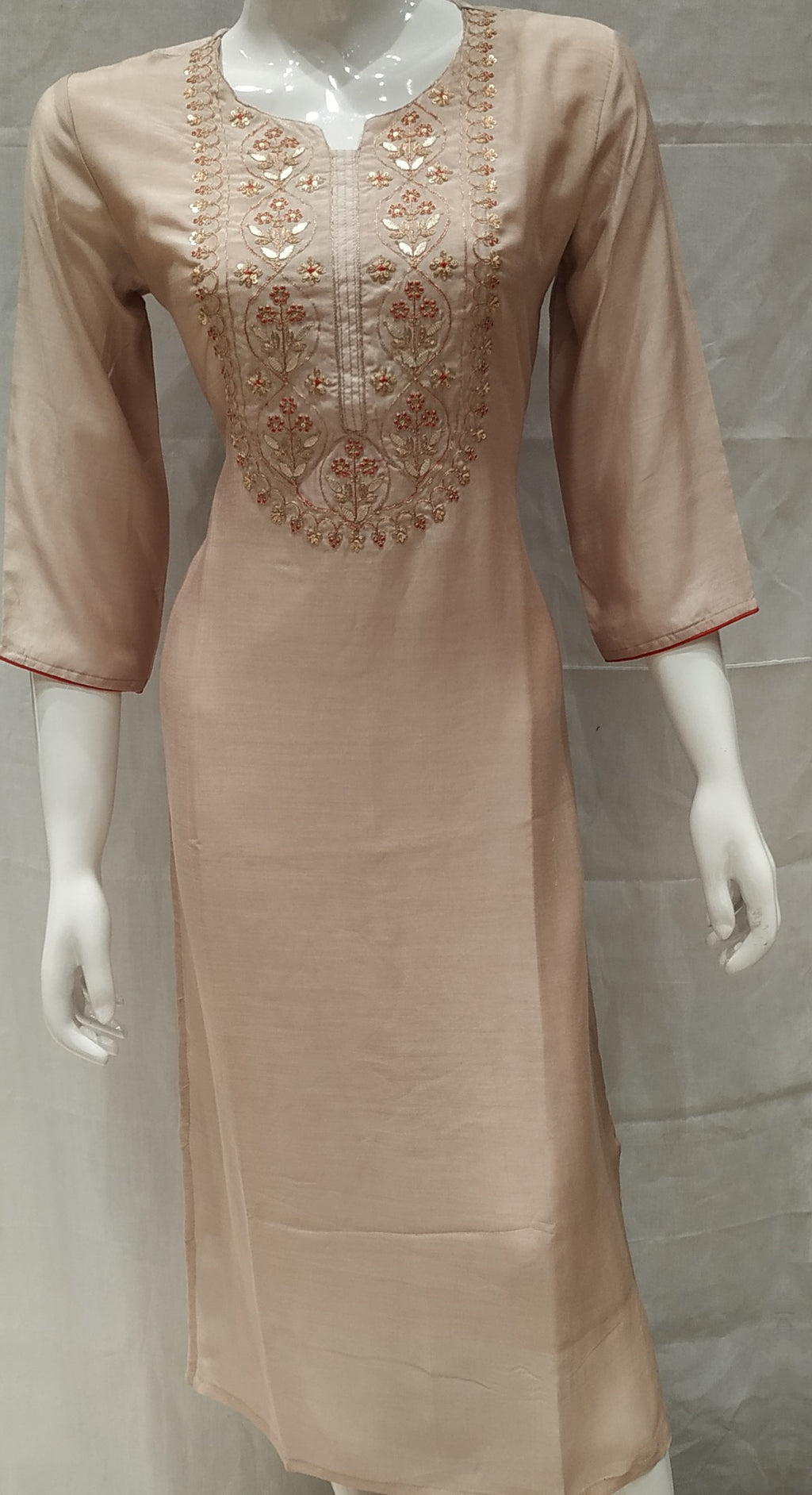 Light Brown Color Pure Muslin Designer Party Wear Kurtis NYF-6710