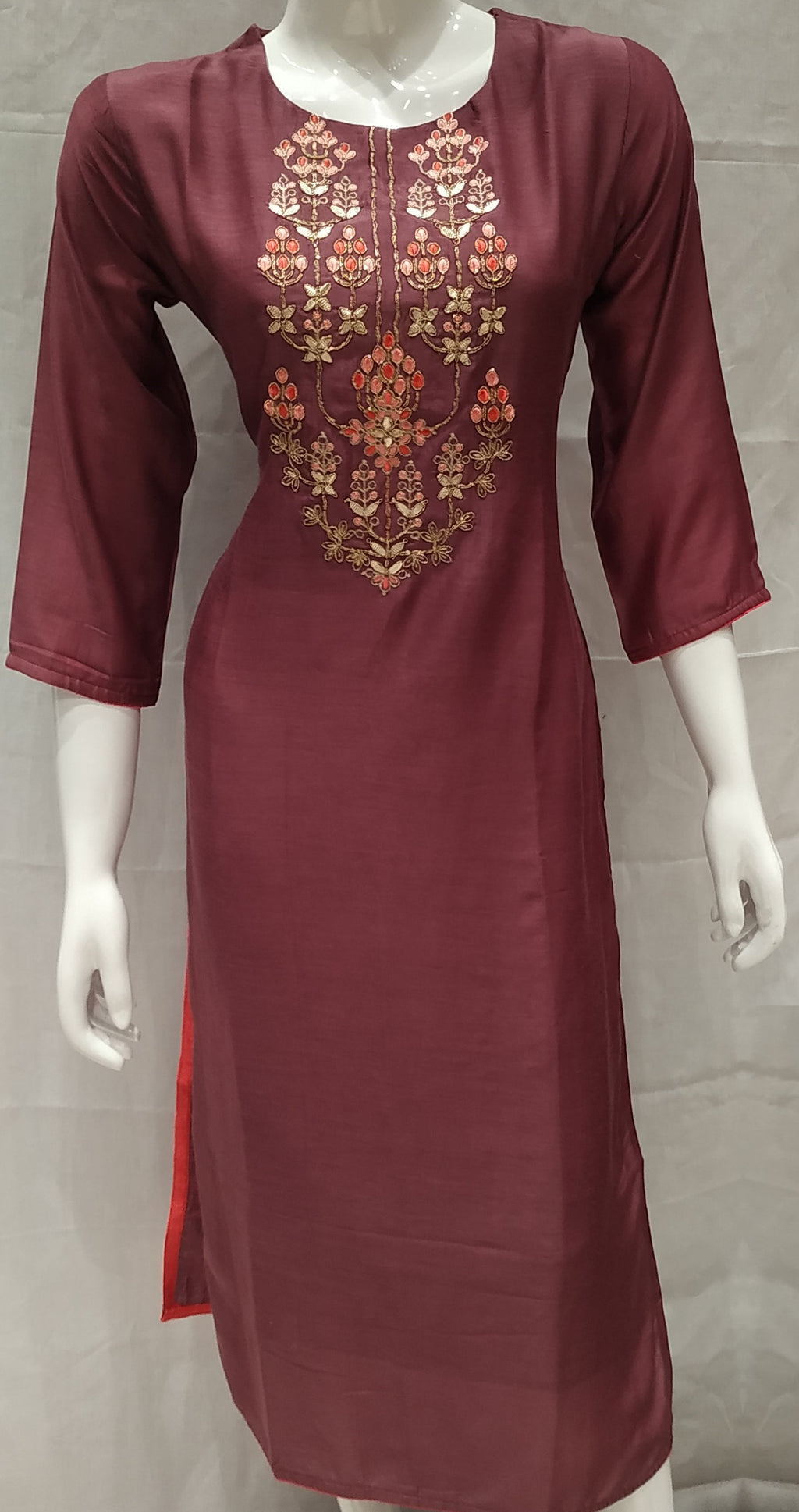 Wine Color Pure Muslin Designer Party Wear Kurtis NYF-6722