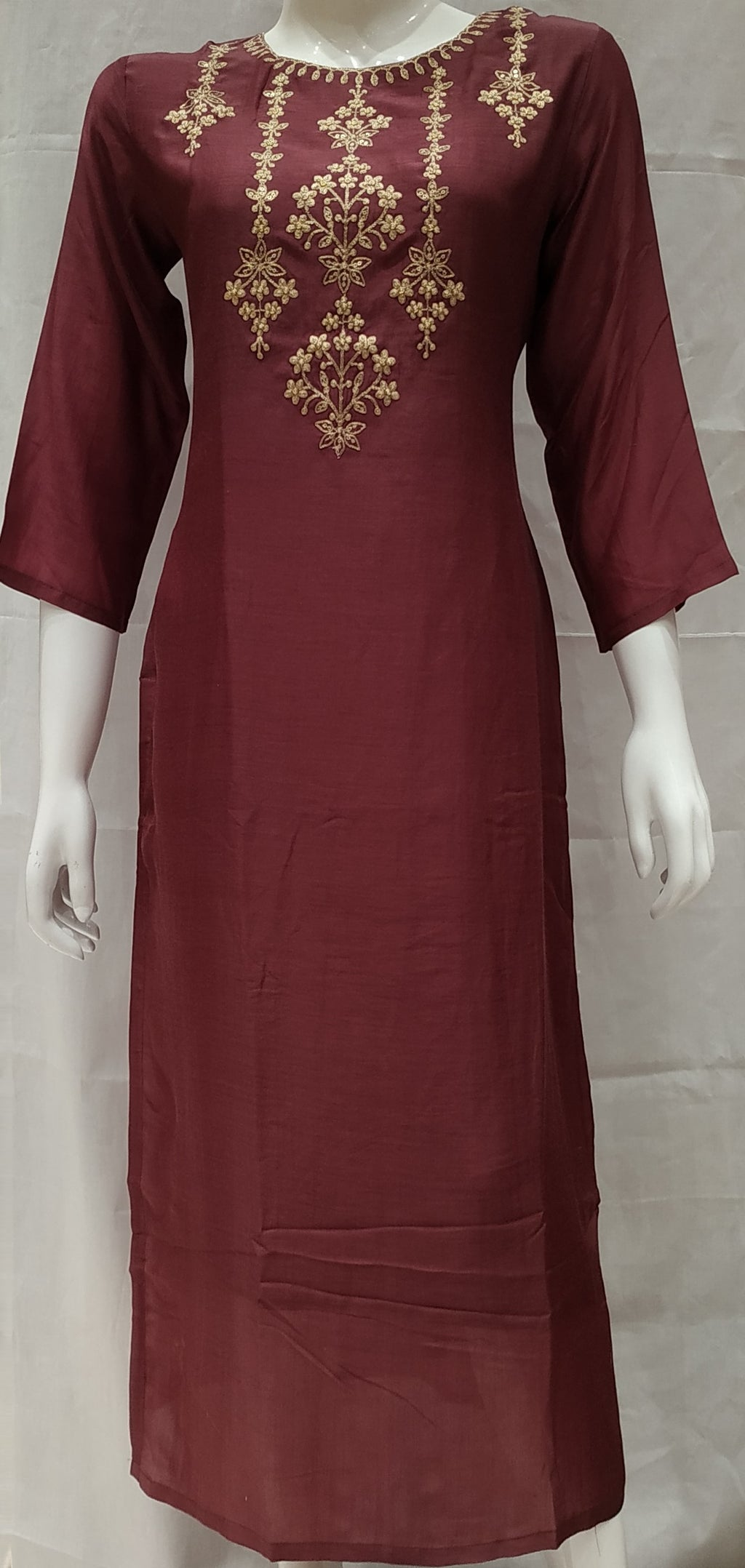 Wine Color Pure Muslin Designer Party Wear Kurtis NYF-6726