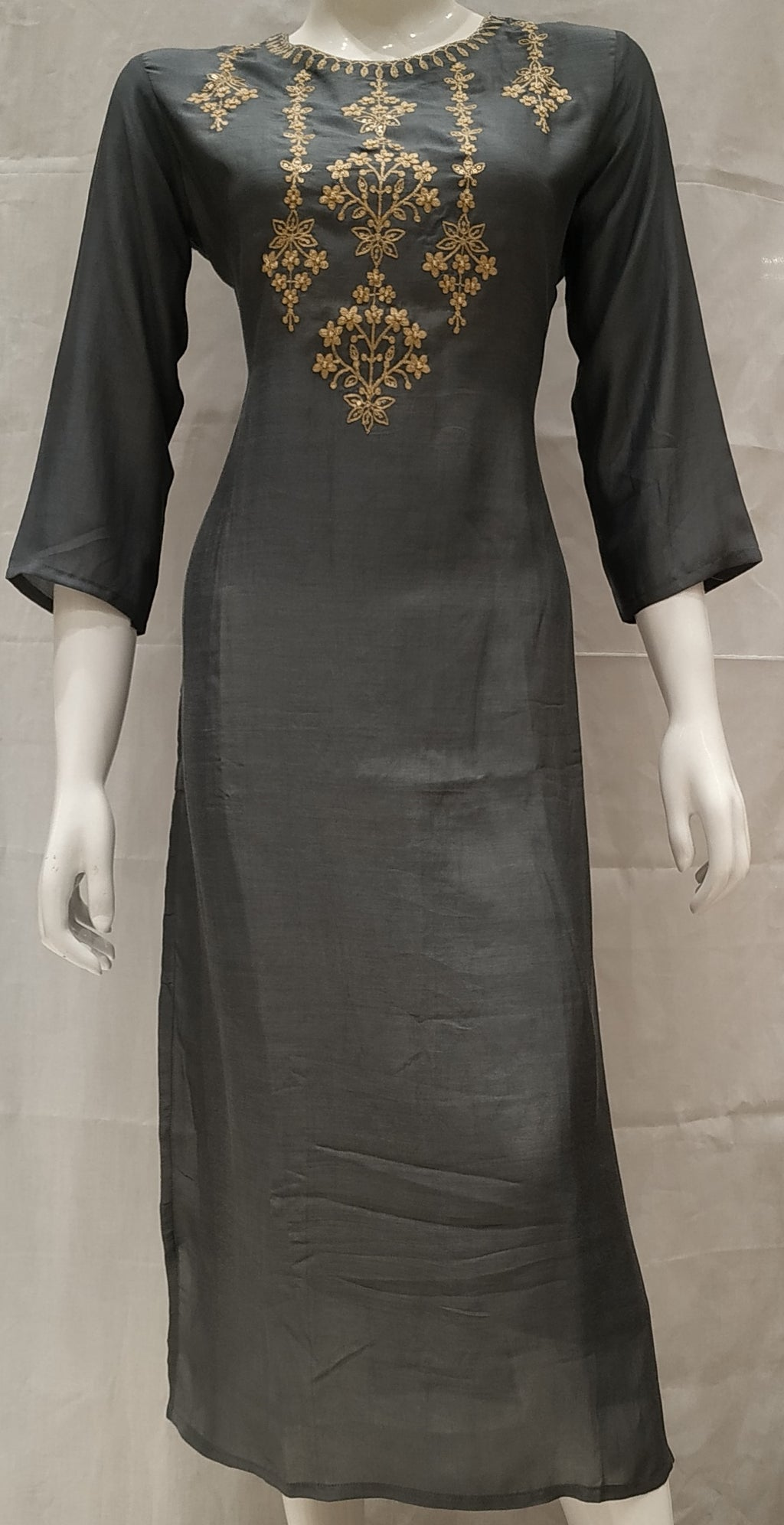 Grey Color Pure Muslin Designer Party Wear Kurtis NYF-6730