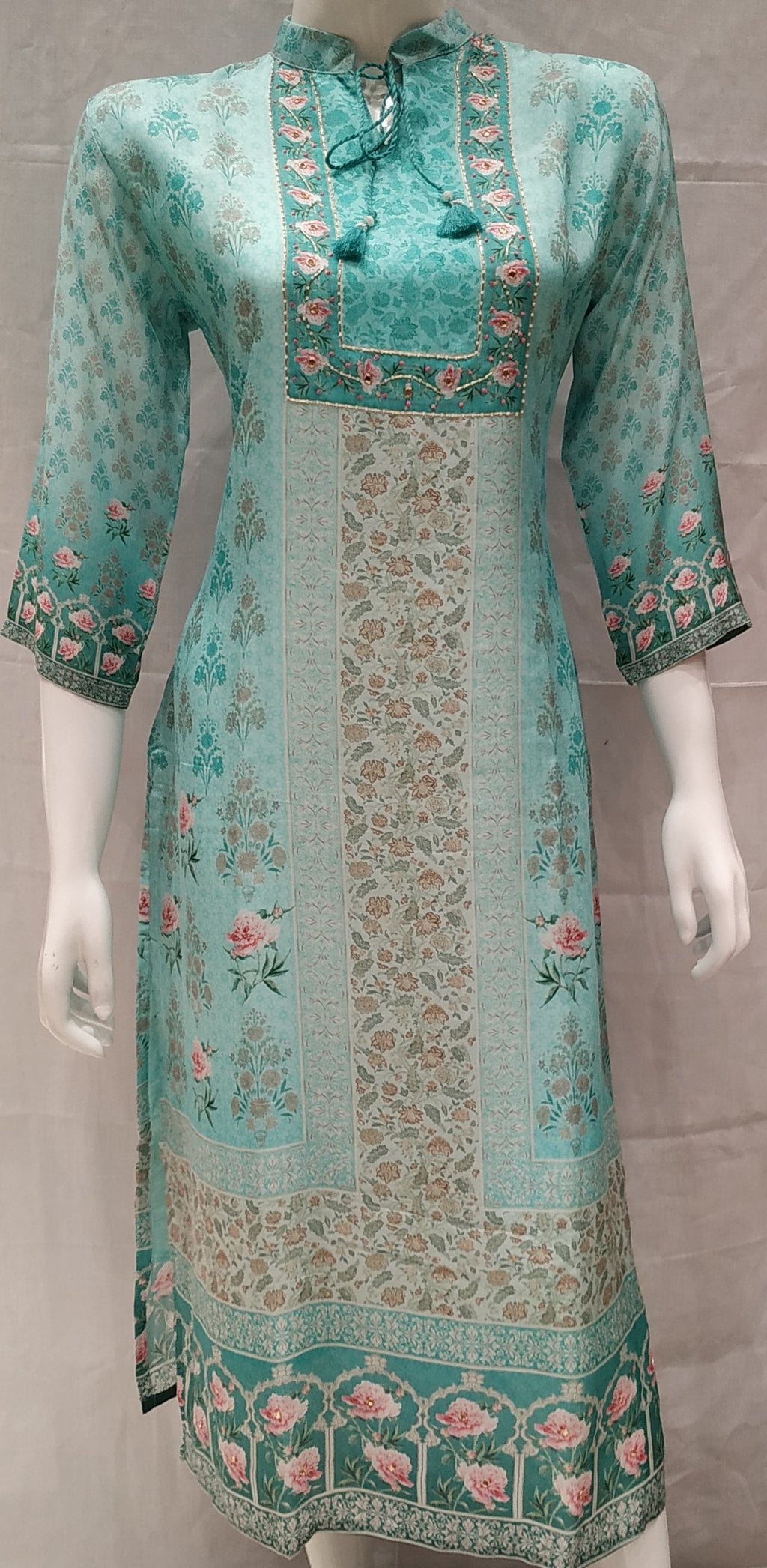Blue Color Pure Muslin Designer Party Wear Kurtis NYF-6735