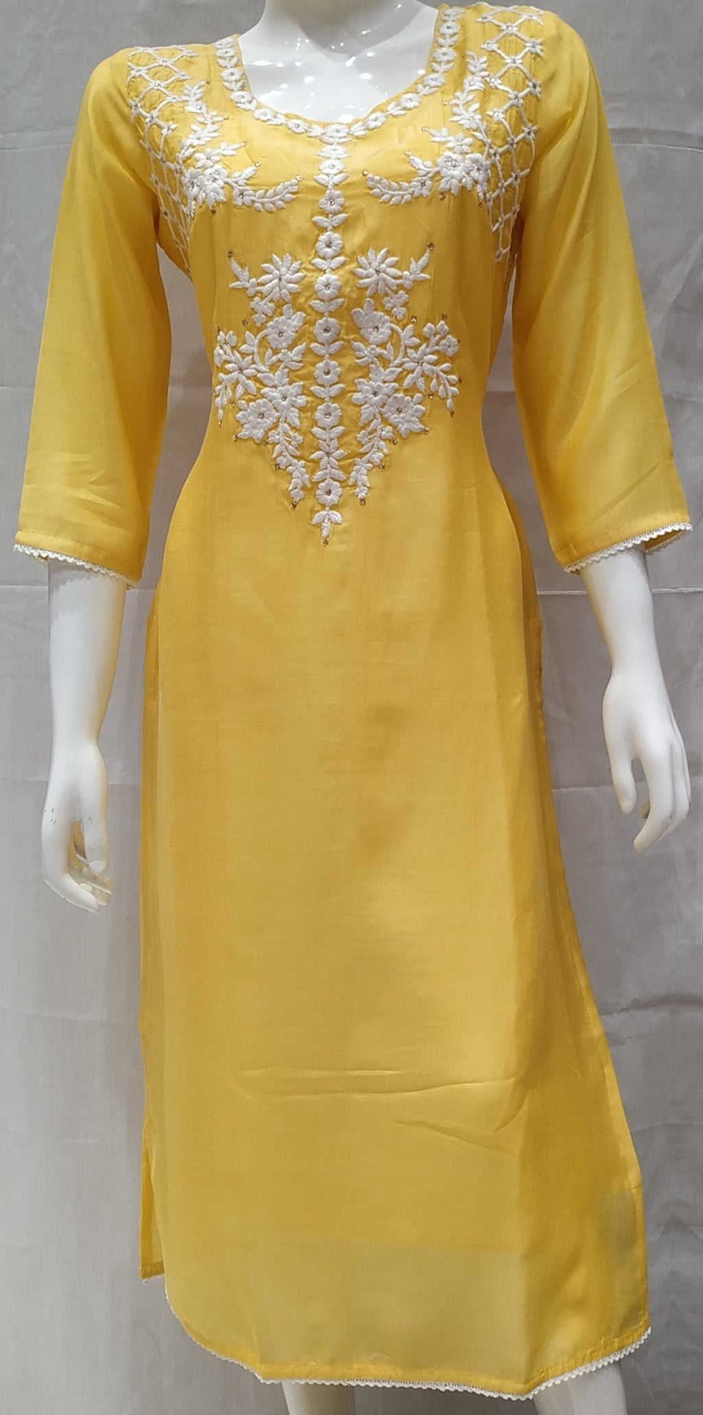 Yellow Color Pure Muslin Designer Party Wear Kurtis NYF-6745