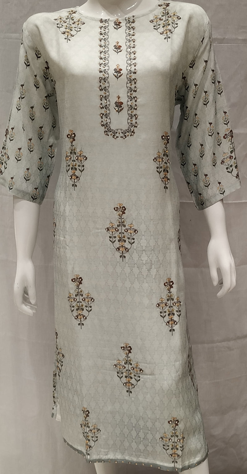 Sea Green Color Pure Muslin Designer Party Wear Kurtis NYF-6752