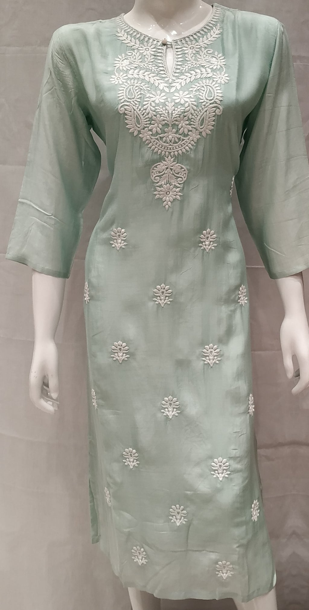 Sea Green Color Pure Muslin Designer Party Wear Kurtis NYF-6753
