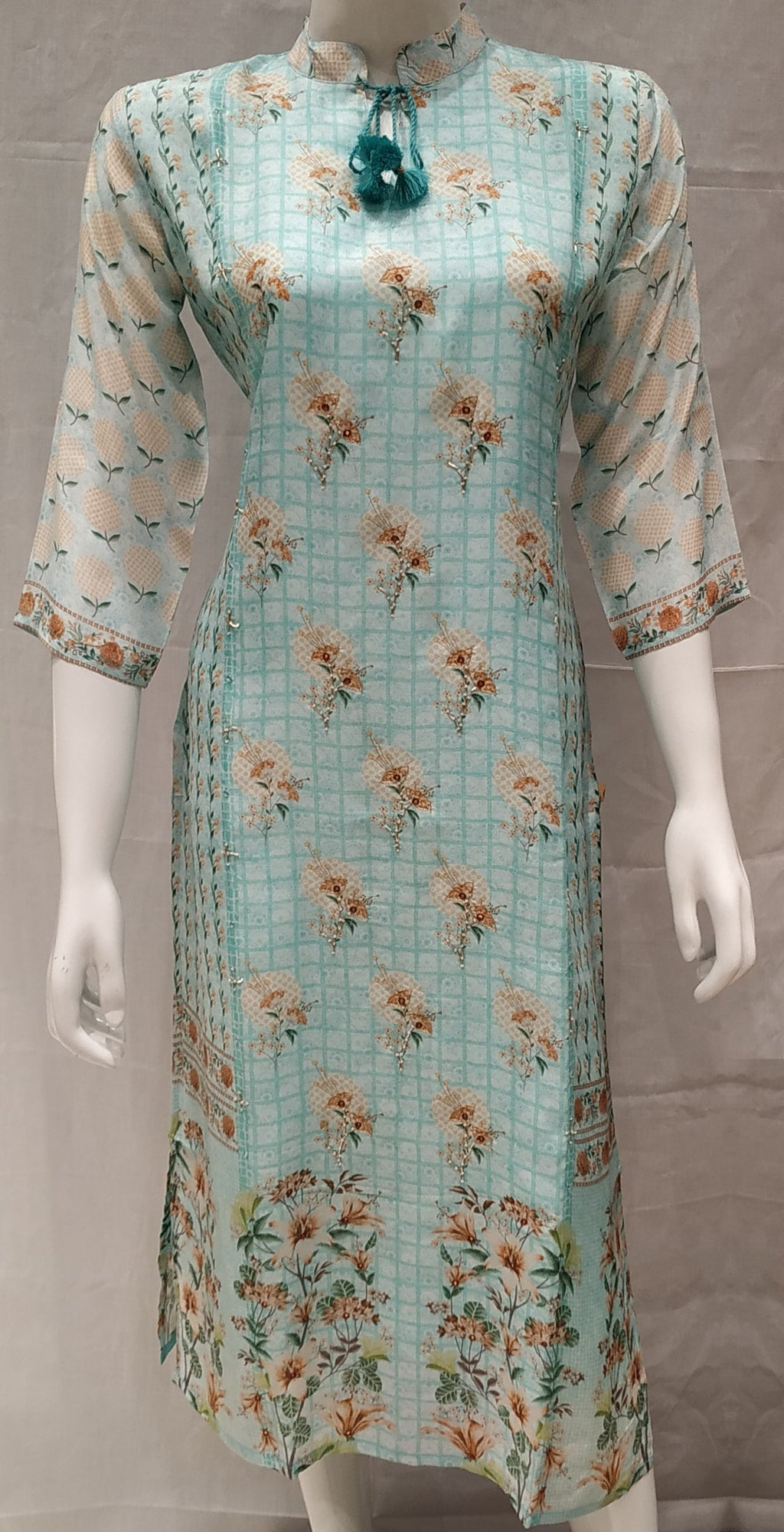 Sea Green Color Pure Muslin Designer Party Wear Kurtis NYF-6755