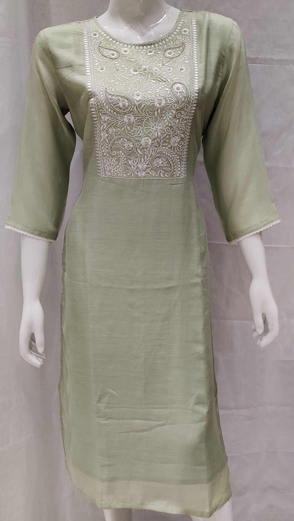 Pista Green Color Pure Muslin Designer Party Wear Kurtis NYF-6759
