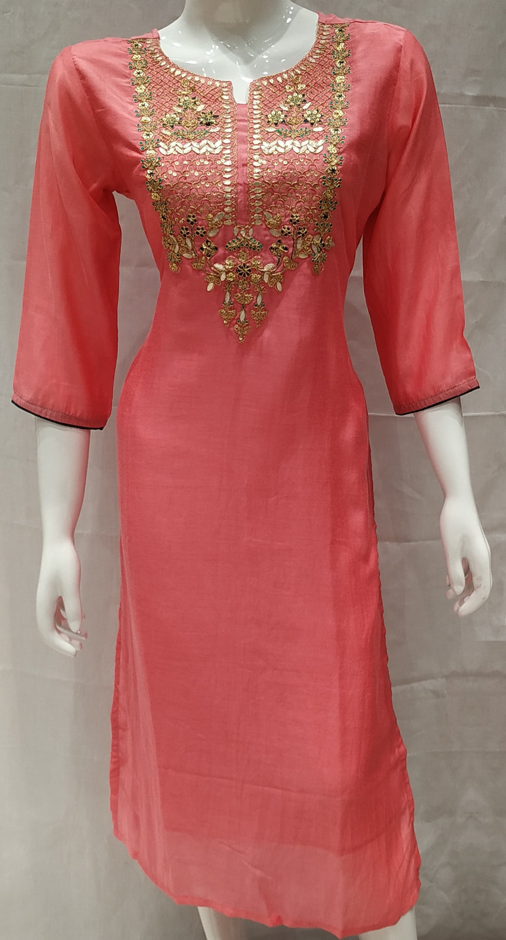 Pink Color Pure Muslin Designer Party Wear Kurtis NYF-6763