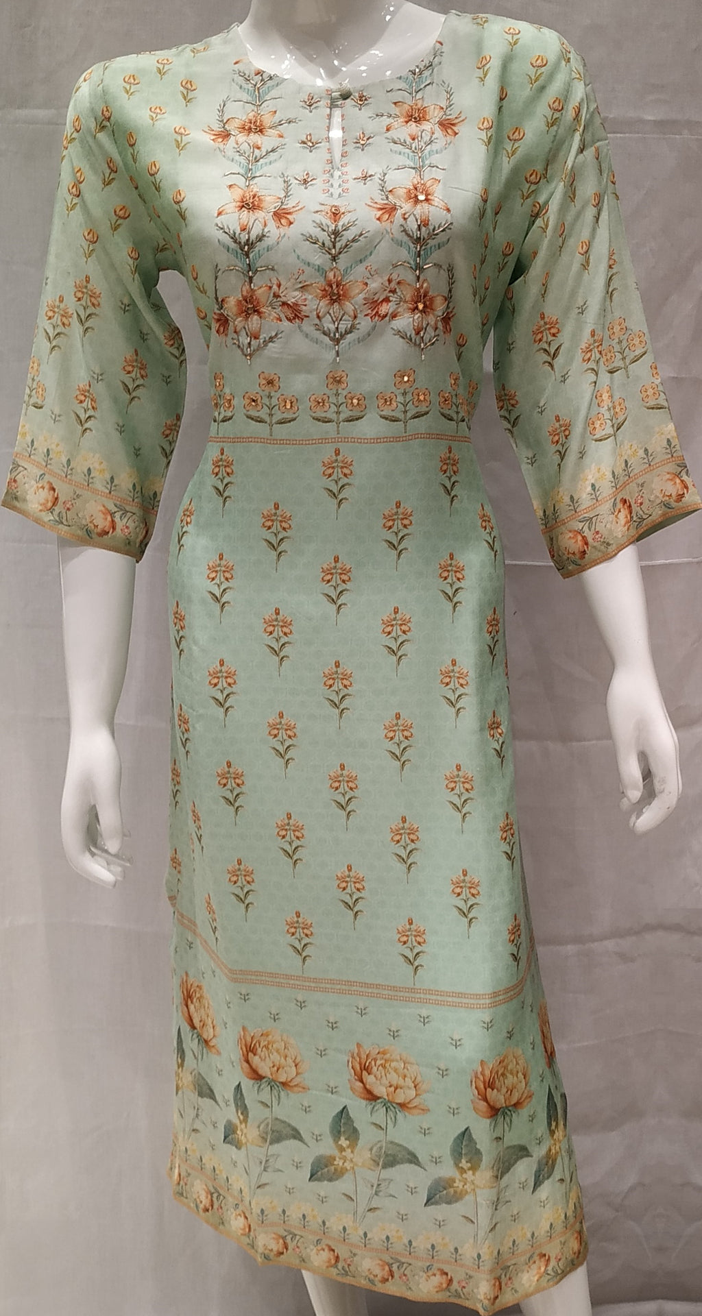 Sea Green Color Pure Muslin Designer Party Wear Kurtis NYF-6766