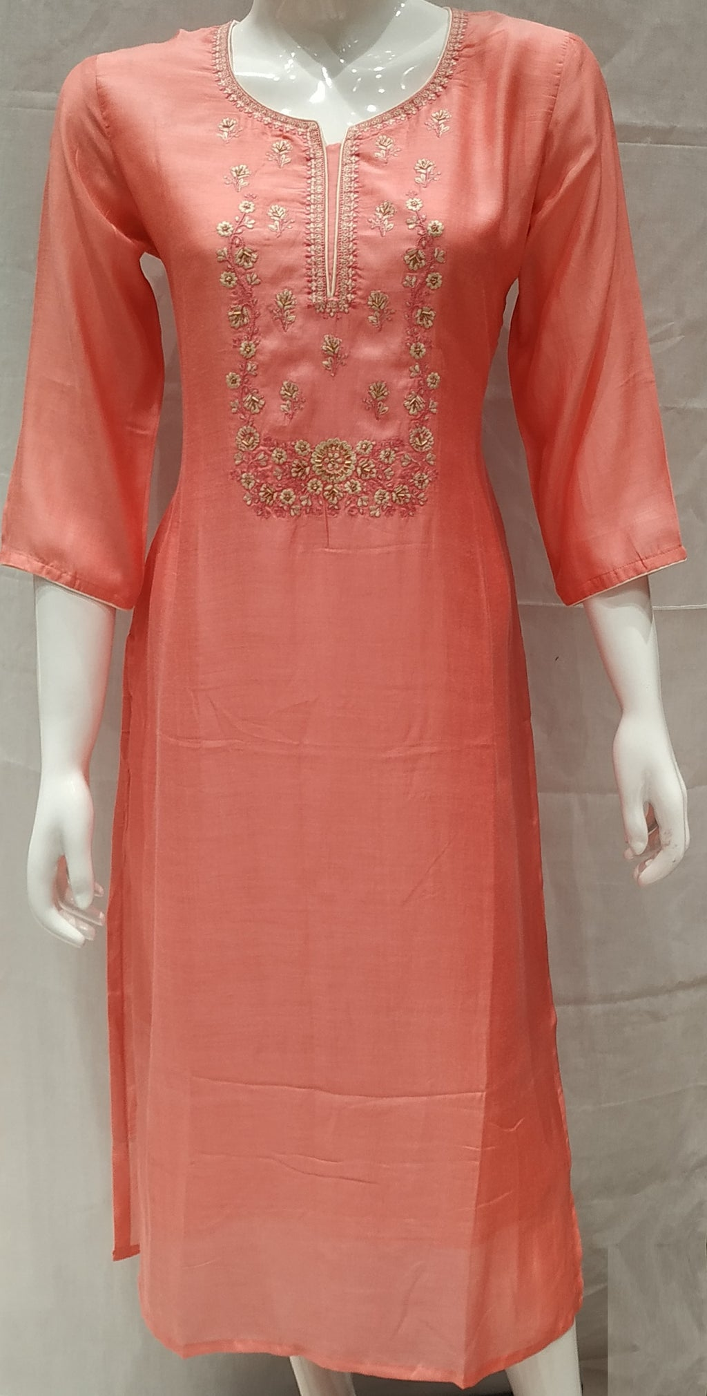 Pink Color Pure Muslin Designer Party Wear Kurtis NYF-6768