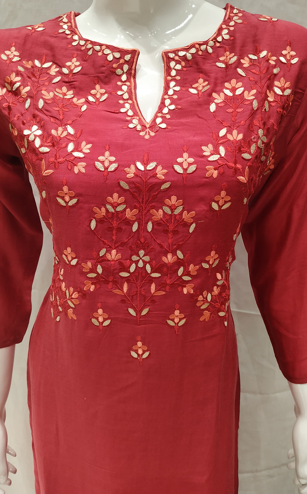 Maroon Color Pure Muslin Designer Party Wear Kurtis NYF-6790